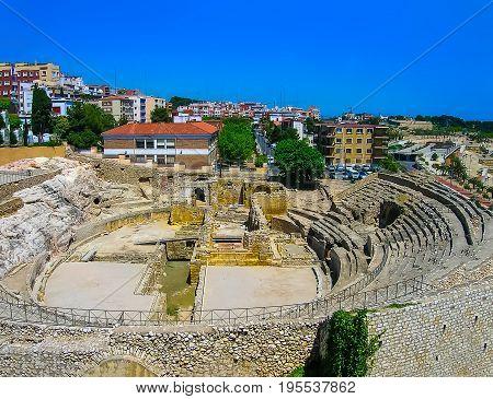 The old Roman amphitheater in Tarragona at Spain