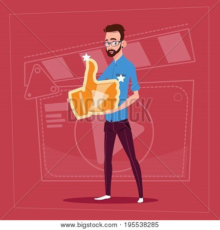 Man Hold Thumb Up Modern Video Blogger Vlog Creator Channel Like Flat Vector Illustration