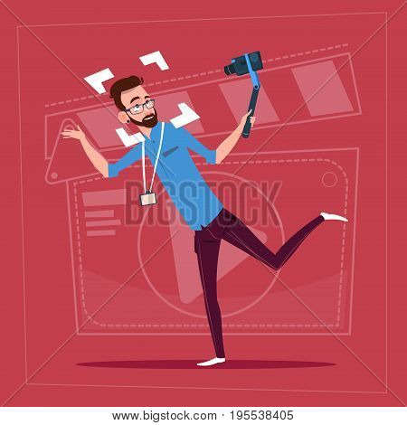 Man Holding Action Camera Modern Video Blogger Vlog Creator Channel Flat Vector Illustration