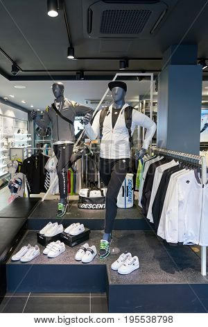 SEOUL, SOUTH KOREA - CIRCA MAY, 2017: inside Descente store in Seoul. Descente Ltd. is a Japanese sports clothing and accessories company