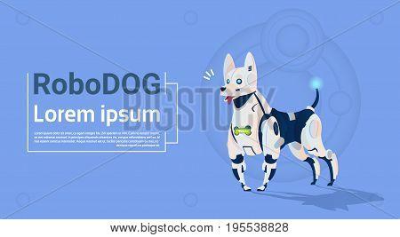 Robotic Dog Cute Domestic Animal Modern Robot Pet Artificial Intelligence Technology Flat Vector Illustration