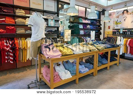 SEOUL, SOUTH KOREA - CIRCA MAY, 2017: goods on display at Giordano store in Seoul.