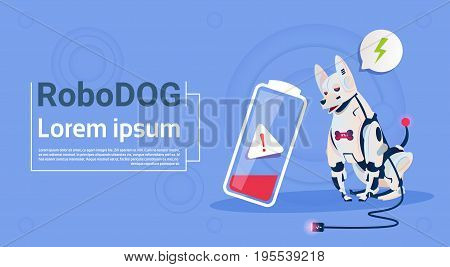 Robotic Dog With Low Battery Charge Domestic Animal Modern Robot Pet Artificial Intelligence Technology Flat Vector Illustration