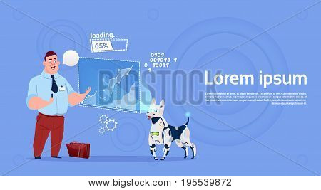 Business Man Leading Presentation On Digital Screen With Robot Dog Projector Flat Vector Illustration