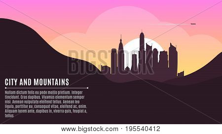 Sunrise in the metropolis. Morning city. Big skyscrapers. A place for your project. Hilly dark mountains. Purple Sunrise. Vector illustration