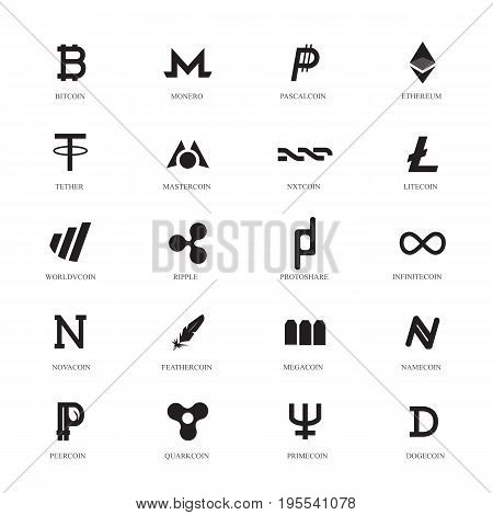 Cryptocurrency Line Icons Set. Popular Cryptocurrency. Black icons with name