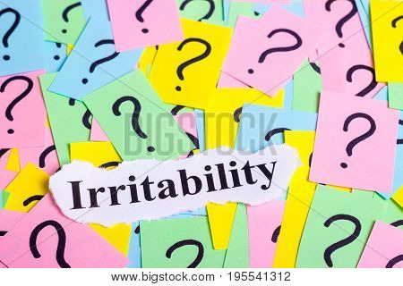 Irritable Syndrome text on colorful sticky notes Against the background of question marks