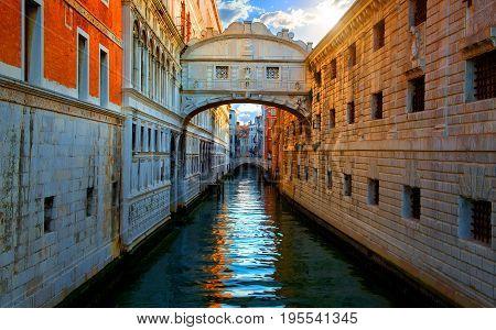 Bridge of Sighs in Venice at sunrise, Italy