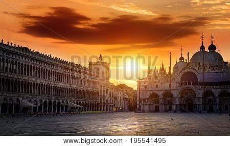 Piazza San Marco in Venice at dawn, Italy