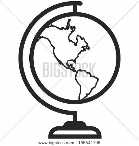 Simple Vector Icon of a classic school globe in line art style. Pixel perfect. Basic education element. School and office tool. Back to college.