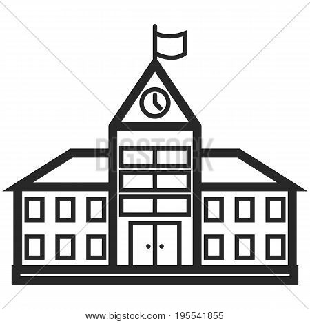 Simple Vector Icon of a school building in line art style. Pixel perfect. Basic education element. School and office tool. Back to college.
