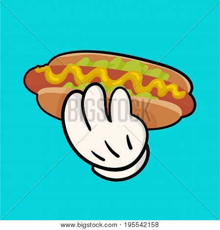 Isolated vector illustration with delicious hotdog with sauce and salat and holding hand. Image for print and web design. Cartoon style  with outline on white background