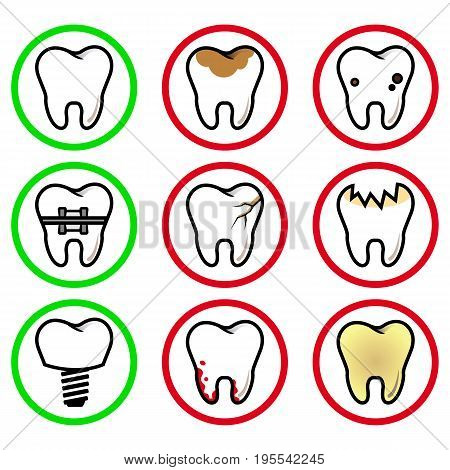vector set of abnormalities of the teeth in a circle on a white background