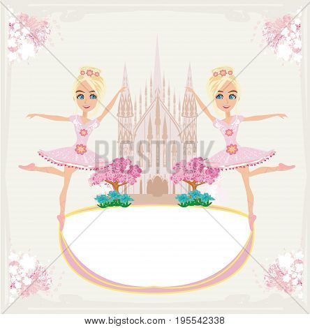 Beautiful ballerina - frame with a castle and flowers , vector illustration