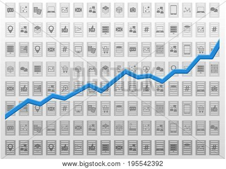 Abstract information technology analysis vector illustration with icons and growth curve