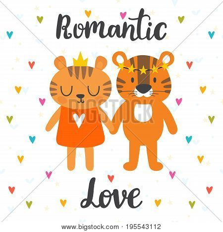Romantic Greeting Card With Two Cute Tigers. Hand Drawn Lettering. Postcard With Cute Cartoon Animal