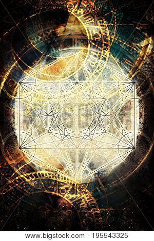 Light merkaba and zodiac in cosmic space. Sacred geometry