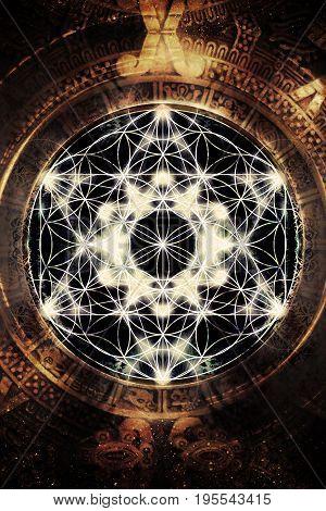 Light merkaba and flower of life in cosmic space. Sacred geometry
