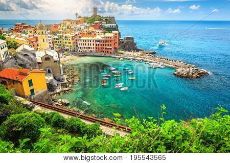 Stunning panorama of Vernazza with magical suspended garden Cinque Terre National Park Liguria Italy Europe