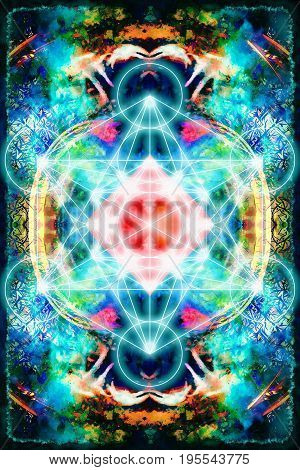 Merkaba on abstract color background. Sacred geometry