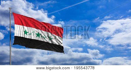 Iraq Waving Flag On Blue Sky. 3D Illustration