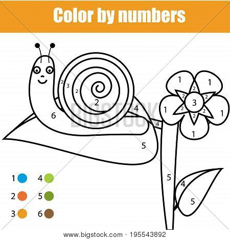 Coloring page with snail character. Color by numbers educational children game, drawing kids activity, printable sheet. Learning numbers. Animals theme