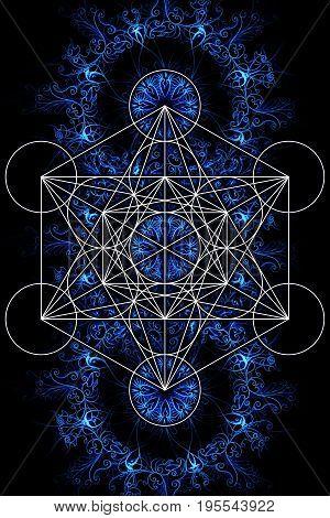 Merkaba and mandala on ablack background. Sacred geometry