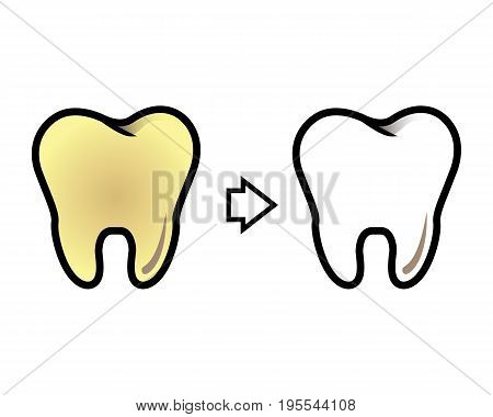 Vector cleaning and whitening teeth on a white background