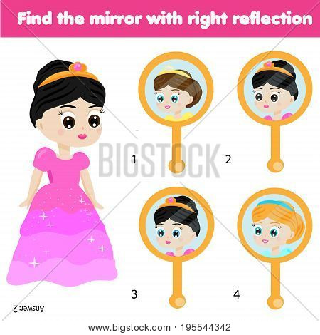 Children educational game. Kids activity. Matching pairs. Find the correct reflection of beautiful princess in the mirror