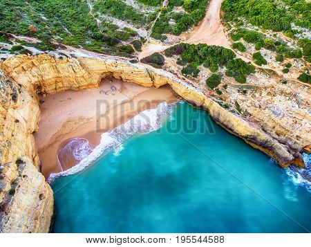 Algarve, Portugal: aerial UAV photo of the coast at sunset