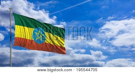 Ethiopia Waving Flag On Blue Sky. 3D Illustration