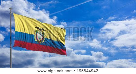 Ecuador Waving Flag On Blue Sky. 3D Illustration