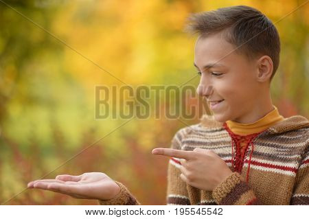 Portrait of boy showing something  in autumnal park