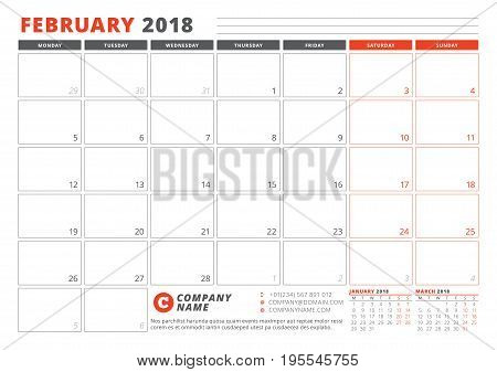 Calendar Template For 2018 Year. February. Business Planner 2018 Template. Stationery Design. Week S