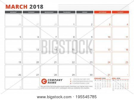 Calendar Template For 2018 Year. March. Business Planner 2018 Template. Stationery Design. Week Star