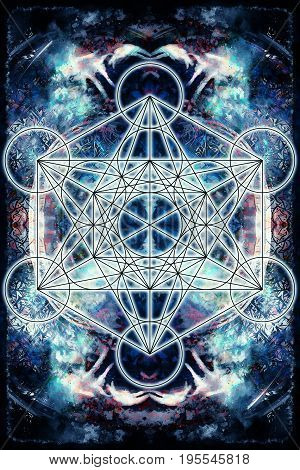 Light merkaba on abstract background. Sacred geometry