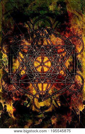 Light merkaba on abstract background. Sacred geometry. Fire effect