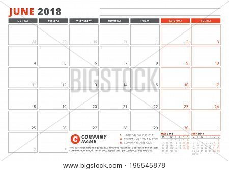 Calendar Template For 2018 Year. June. Business Planner 2018 Template. Stationery Design. Week Start