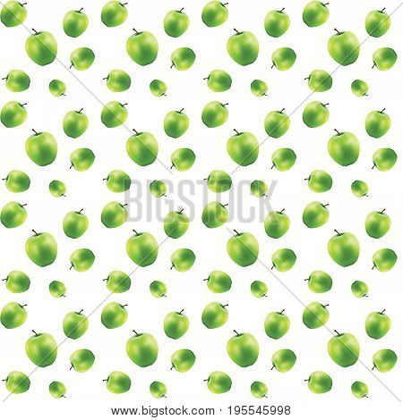 Different sizes of green apples. Seamless 3D-object on white background. Vector illustration.