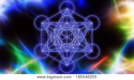 Light merkaba on abstract color background and fractal structure. Sacred geometry