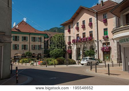Faverges, France - June 29, 2016. Houses and City Hall facing a square in Faverges, a lovely town near the Lake of Annecy, department of Haute-Savoie, Auvergne-Rhône-Alpes region, south-eastern France