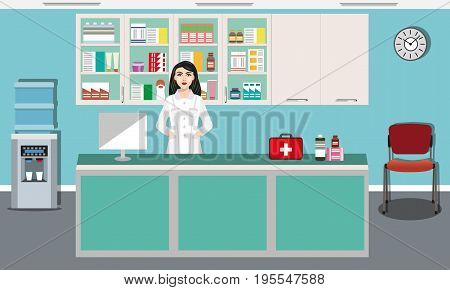 Modern interior design pharmacy or drugstore with young pharmacist. Showcase and shelves with medicines, pills and capsules. Water cooler, clock and chair. Flat style vector illustration.