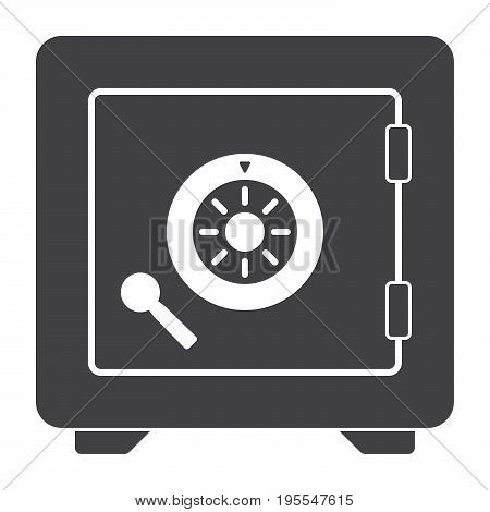 Bank safe vector silhouette on white background
