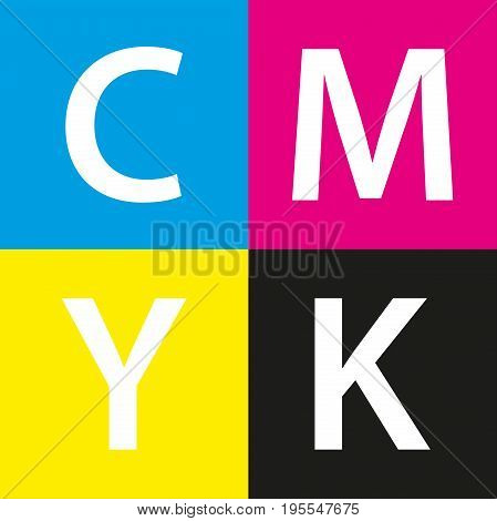 Simple vector cmyk color sample background with cyan magenta yellow and black color