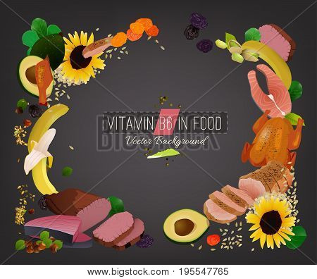 Vitamin B6 vector illustration. Foods containing folate on a dark grey background. Source of folicin - seeds, corn, vegetables, beans, lentils. Medical, healthcare and dietary creative concept.