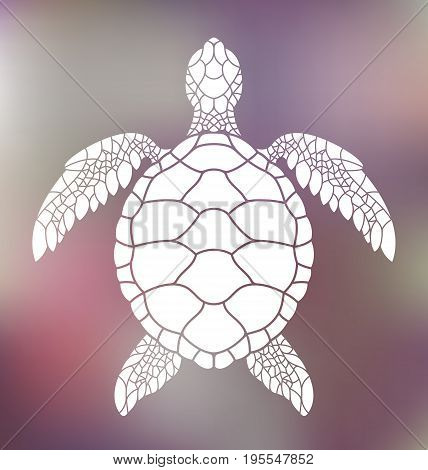 Sea turtle. Abstract turtle on blurred background. (EPS)