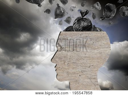 Head as wooden dustbin and falling garbage bags. Garbage and pollution concept. Dramatic sky.