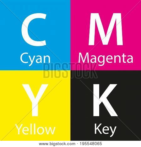 Simple vector cmyk color sample with color name background with cyan magenta yellow and key