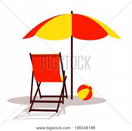 vector deck chair and beach ball under beach umbrella isolated on white background
