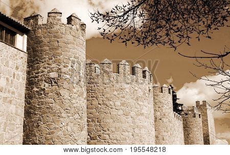 Towers of castle Avila at Castilla and Leon, Spain
